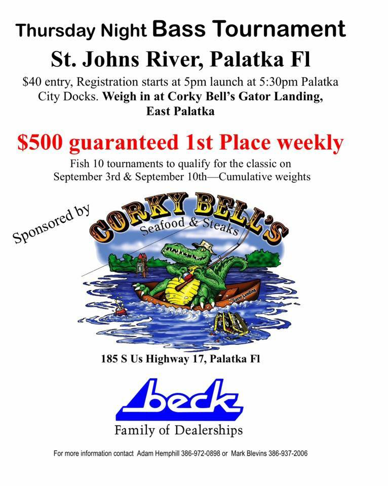 Upcoming events thursday night bass tournament on the st for Bass fishing tournaments in florida